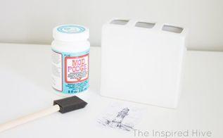 modpodge soap dispenser and toothbrush holder, bathroom ideas, decoupage, home decor