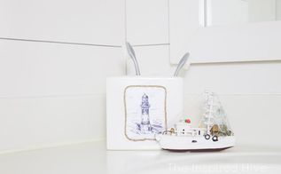 modpodge soap dispenser and toothbrush holder, bathroom ideas, decoupage, home decor