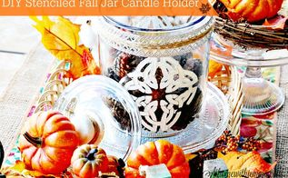 diy stenciled fall jar candle holder, crafts, mason jars, painted furniture
