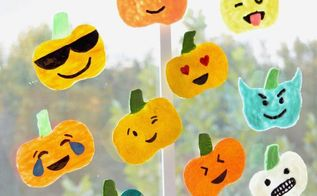 diy emoji pumpkins window clings, crafts, seasonal holiday decor