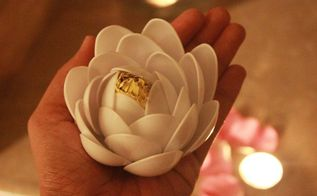 white lotus using plastic spoons, crafts, flowers, home decor, ponds water features
