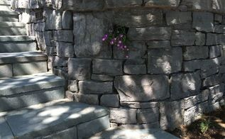 custom stone masonry, concrete masonry, landscape, Basalt Wall and Bluestone Steps