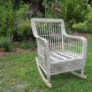 wicker rocker resurrected, painted furniture, Sturdy but cosmetically damaged