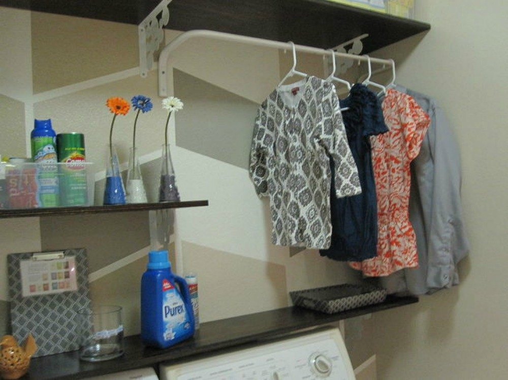 10 space saving hacks for your small laundry room hometalk - Hanging clothes in small spaces collection ...