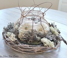 fall farmhouse vintage wire egg basket centerpiece, crafts, seasonal holiday decor