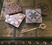 diy stenciled coasters metallic dramatic , crafts