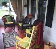 front porch update, concrete masonry, crafts, flooring, lighting, painted furniture, reupholster