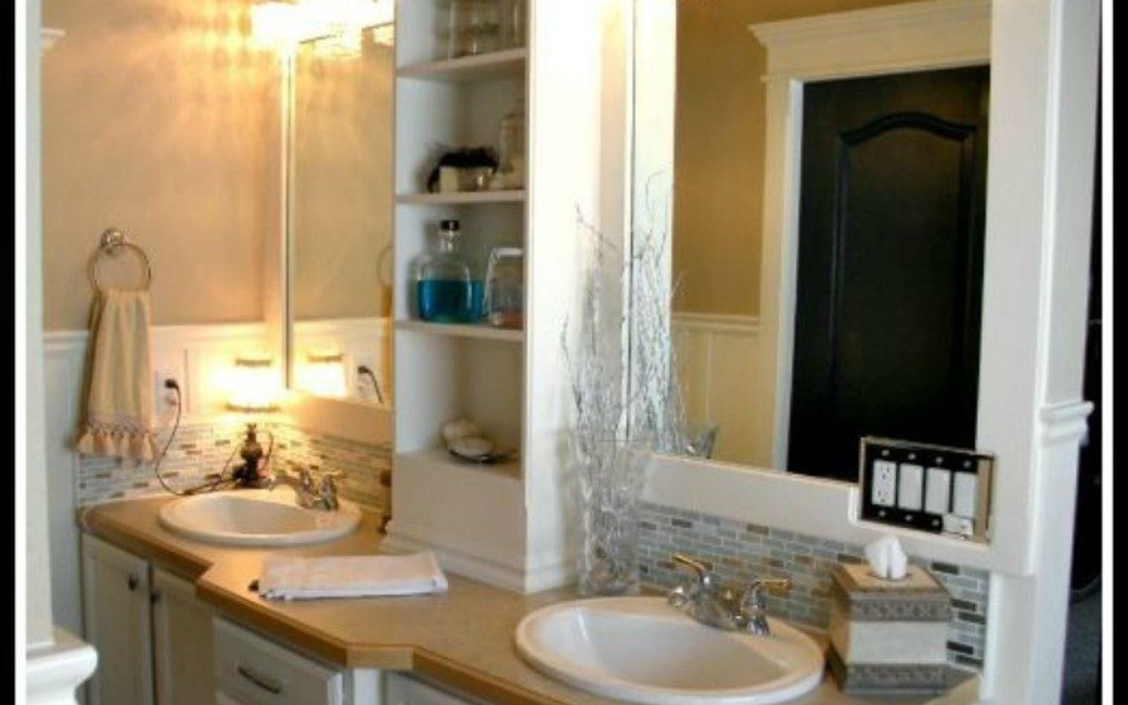 s 10 stunning ways to transform your bathroom mirror without removing it, bathroom ideas, home decor, Stick some shelves in between