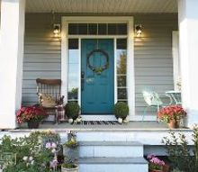a cozy and colorful fall porch, crafts, doors, flowers, gardening, painted furniture, porches, repurposing upcycling, wreaths