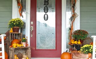 fall decor to halloween add a little spook to the front porch, halloween decorations, home decor, seasonal holiday decor
