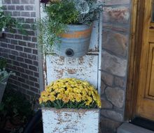 going galvanized on my fall porch, container gardening, gardening
