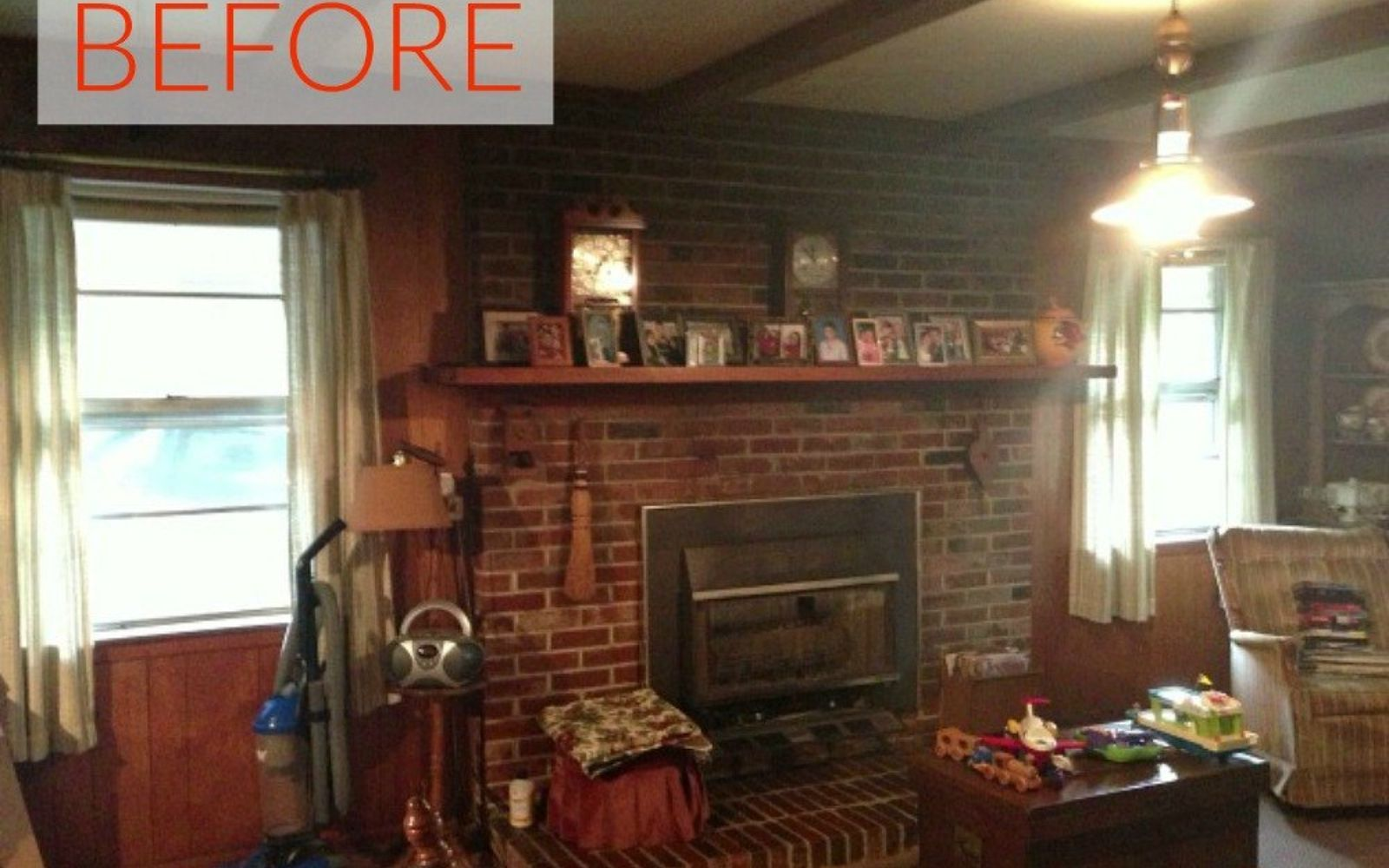 s 10 gorgeous ways to transform a brick fireplace without replacing it, concrete masonry, fireplaces mantels, The problem It s old fashioned and dark