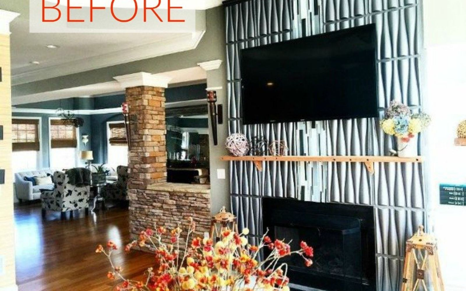 s 10 gorgeous ways to transform a brick fireplace without replacing it, concrete masonry, fireplaces mantels, The problem Too textured and modern