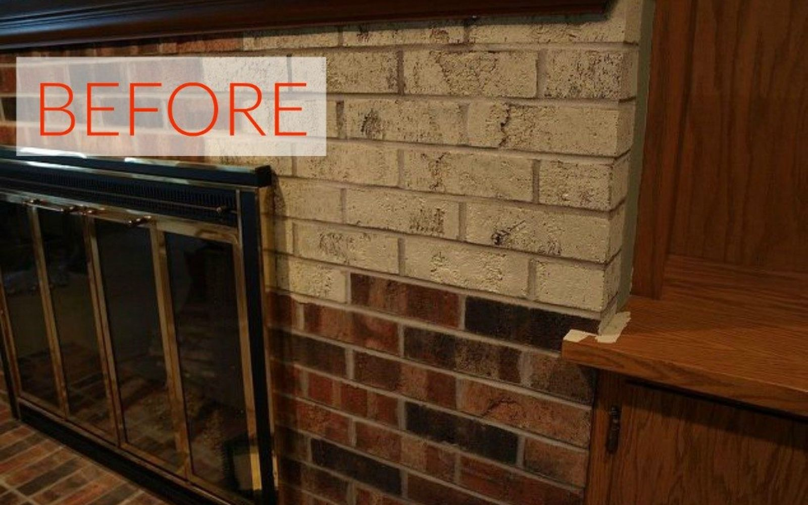 s 10 gorgeous ways to transform a brick fireplace without replacing it, concrete masonry, fireplaces mantels, The problem The brick looks old