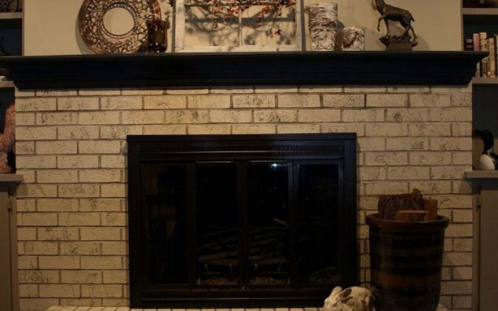 s 10 gorgeous ways to transform a brick fireplace without replacing it, concrete masonry, fireplaces mantels, The fix Paint it with chalk paint