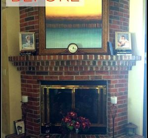 s 10 gorgeous ways to transform a brick fireplace without replacing it, concrete masonry, fireplaces mantels