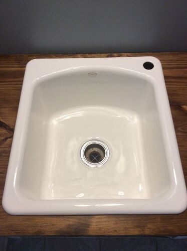 i saved a beautiful cast iron enamel sink from doom before it actually gets installed do i change the drain basket if so should it match the color of the - Enamel Kitchen Sink