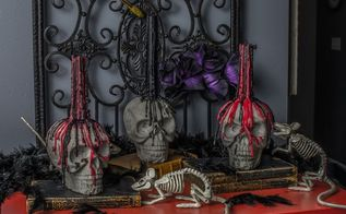 diy concrete skull candle holder, concrete masonry, crafts, halloween decorations, home decor, seasonal holiday decor
