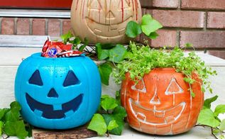 concrete pumpkins for fall decor, concrete masonry, home decor
