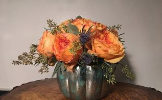 diy mercury glass pumpkin vase, appliances, cleaning tips, decoupage, flowers, gardening, home decor, seasonal holiday decor