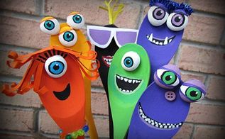 halloween decor funny jar o monsters made from spoons , halloween decorations, home decor, seasonal holiday decor