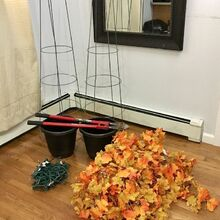 fall topiary with lights, gardening