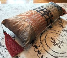 diy boho chic patchwork lumbar pillow, how to, painting, pallet, reupholster