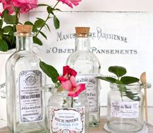 diy vintage french apothecary jars, crafts, decoupage, home decor, mason jars, painted furniture, seasonal holiday decor, shabby chic