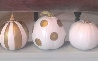 painted gold white pumpkins, crafts, seasonal holiday decor