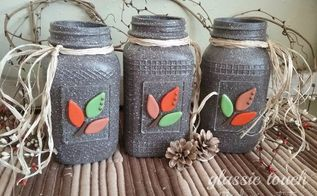 embellished painted mason jar fall decor, home decor, mason jars
