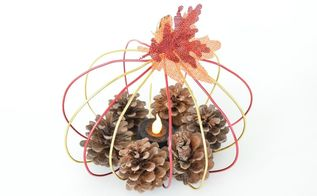 diy wire pumpkin candle holder, crafts, fireplaces mantels, home decor, wall decor