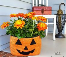 straw tote bag halloween jack o lantern planter, gardening, halloween decorations, outdoor living, repurposing upcycling, seasonal holiday decor