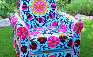 no sew upholstered boho chair, living room ideas, outdoor living, plumbing, repurposing upcycling, reupholster
