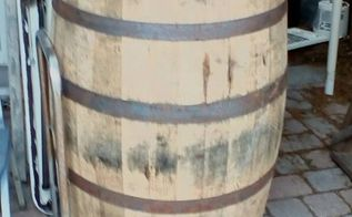 q need ideas for a whiskey barrel table for the pool deck , repurpose furniture, repurposing upcycling, woodworking projects