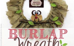 quick embroidery hoop burlap wreath, crafts, seasonal holiday decor, wreaths