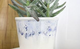 diy watercolor sharpie planter, container gardening, crafts, painting