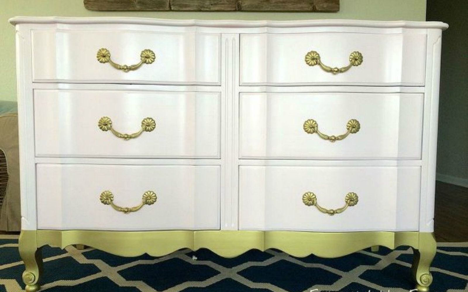 s i hate pink but these makeovers changed my mind , This pale pink gold dipped dresser