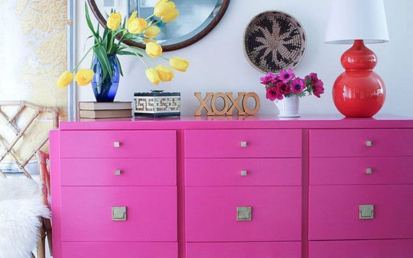 s i hate pink but these makeovers changed my mind , This bright pink dresser that grabs attention