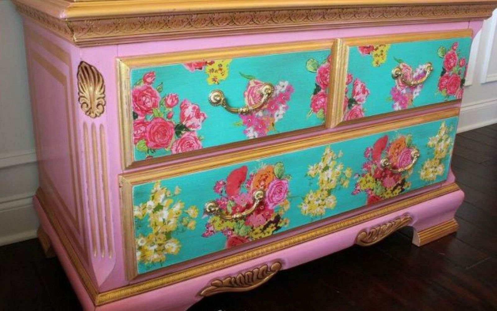 s i hate pink but these makeovers changed my mind , This floral dresser with all kinds of pink