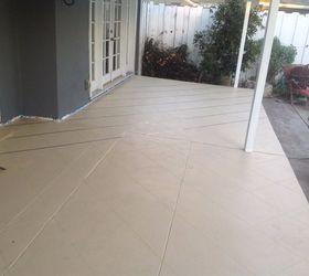 Beautiful Patio Floor Makeover Painted Patio Floor To Look Like Tile , Flooring,  Outdoor Living,
