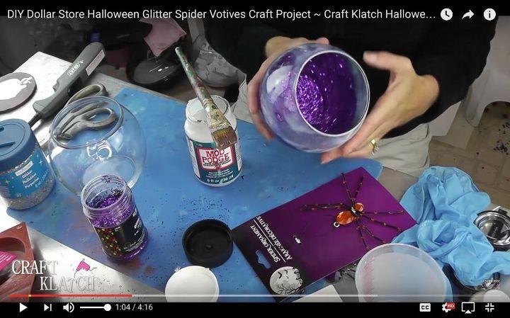 diy dollar store halloween glitter spider votives craft project crafts halloween decorations pest - Glitter Halloween Decorations