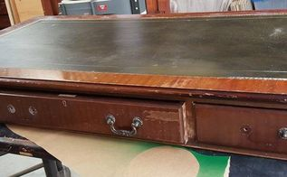 old leather top desk gest new life, home decor, painted furniture, woodworking projects, Old leathertop desk