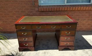 old leather top desk gest new life, home decor, painted furniture, woodworking projects, Leather top captains desk restored