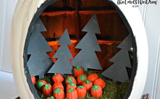 pumpkin patch diorama, chalk paint, crafts, halloween decorations, home decor, how to, painting, repurposing upcycling, seasonal holiday decor