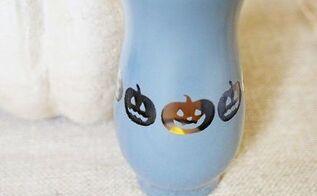 pumpkin halloween vase with spray paint , halloween decorations, painting, seasonal holiday decor