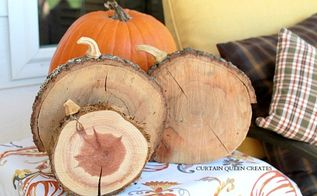 diy your wood slice chargers into pumpkins, crafts, outdoor living, repurposing upcycling