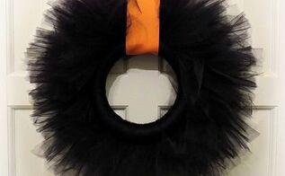 black tutu easy halloween wreath, crafts, halloween decorations, seasonal holiday decor, wreaths