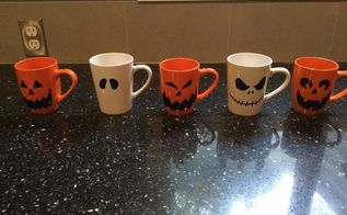easy halloween mugs , crafts, halloween decorations, repurposing upcycling, seasonal holiday decor