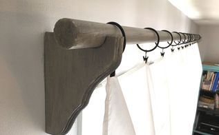 rustic curtain rod corbels with sheet curtains, home decor, window treatments