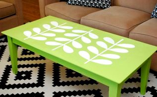 mid century inspired stenciled coffee table, home decor, living room ideas, painted furniture